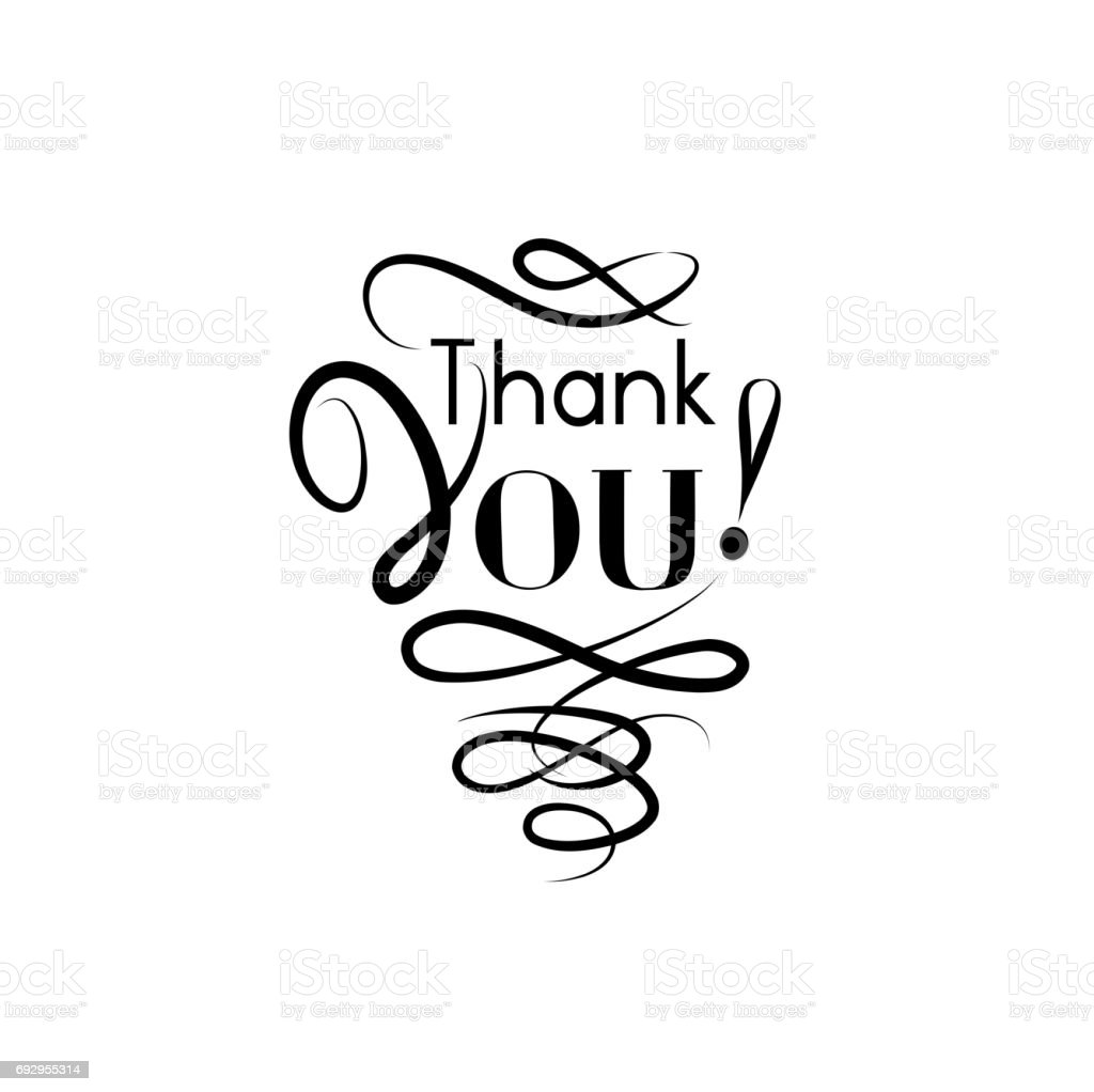 Thank You Card Handwritten Lettering Calligraphic Line