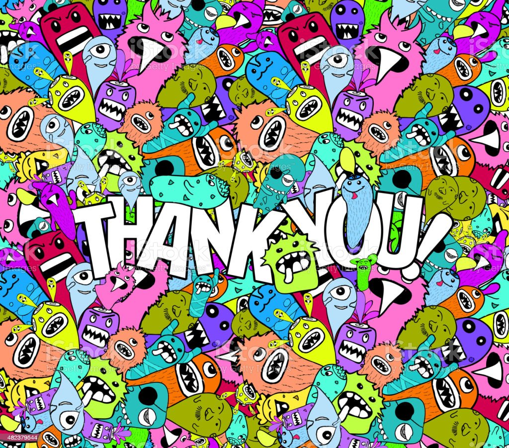 Thank You Doodle Hipster Colorful Background Stock Vector