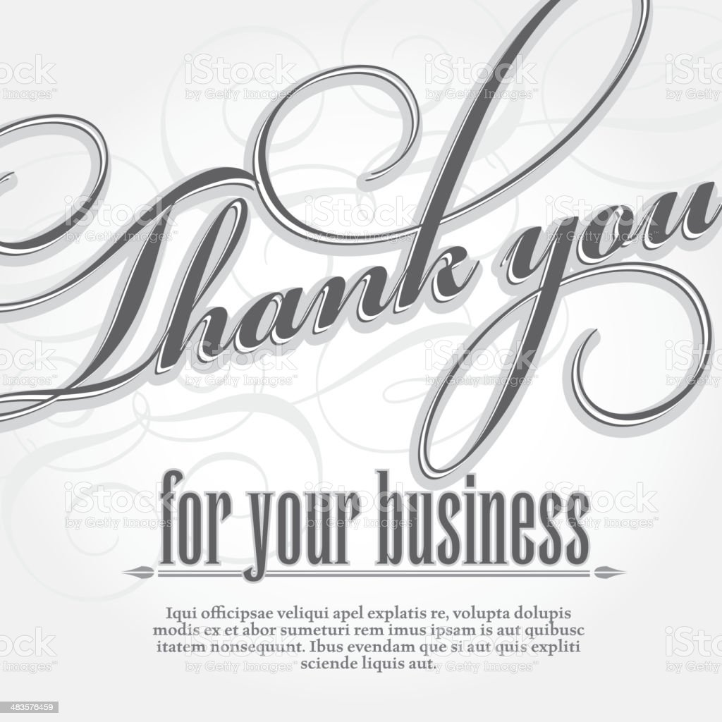 Thank You For Your Business Design Card Template Stock
