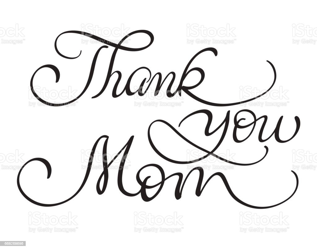 Thank You Mom Vector Vintage Text On White Background