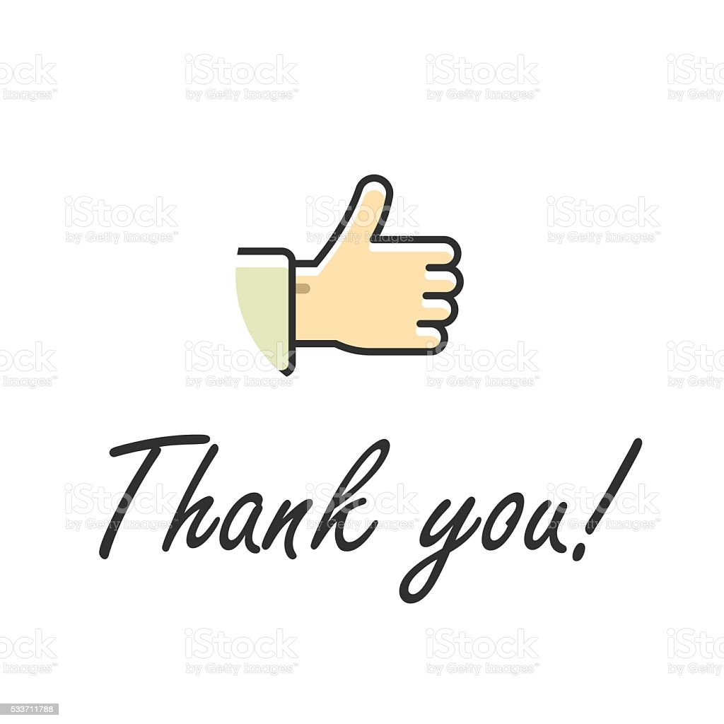 Thank You Note Text Vector Illustration Isolated Thumb Up