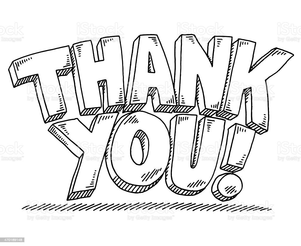 Thank You Text Drawing Stock Vector Art & More Images of