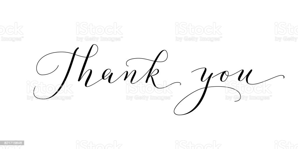 Thank You Words Hand Written Custom Calligraphy Isolated