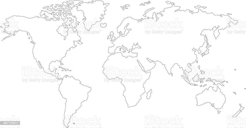 La Terre La Carte Du Monde Sur Fond Blanc Illustration
