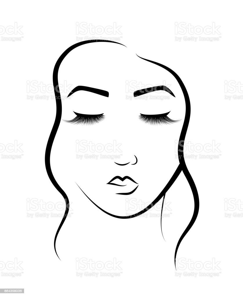 The Face Of A Beautiful Girl Logo For Beauty Salon
