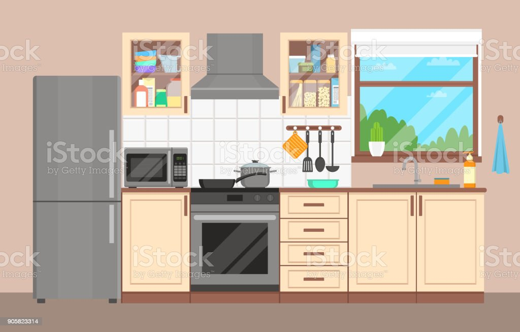 https www istockphoto com fr vectoriel lint c3 a9rieur de la cuisine meubles appareils vaisselle et ustensiles de cuisine gm905823314 249756577