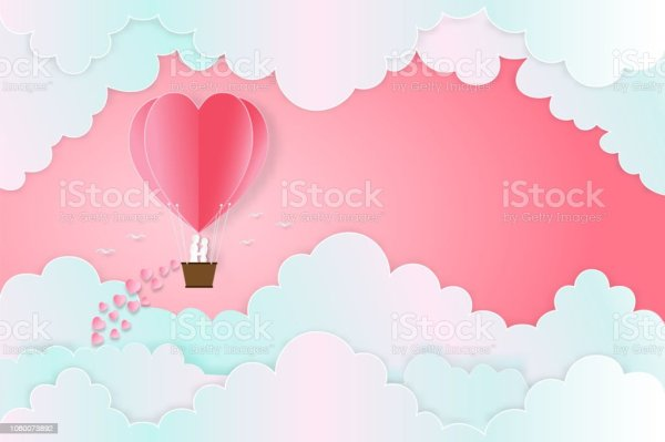 The Lover In Hot Air Balloons On The Pastel Sky Background