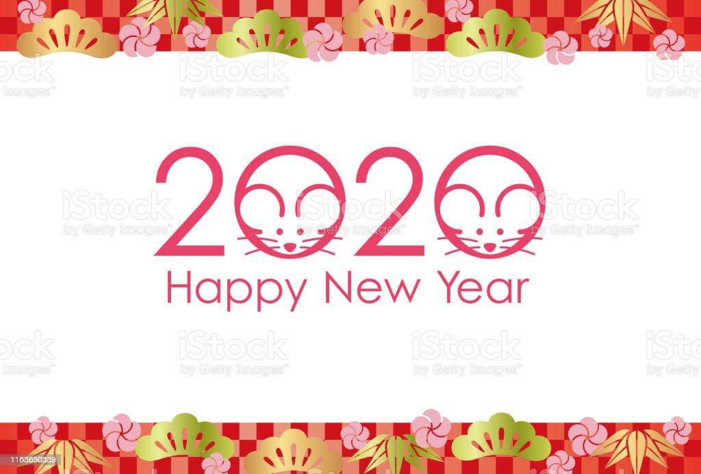 2020年鼠年新年賀卡範本向量圖形及更多中國文化圖片 - iStock