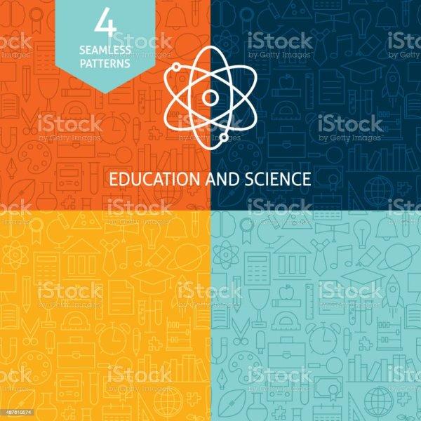Thin Line Education Science School Patterns Set Stock