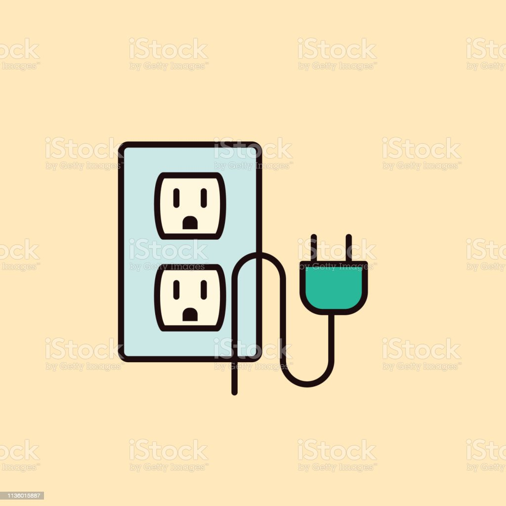 hight resolution of thin line home improvement diy icon electrical outlet plug royalty free thin line home