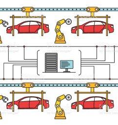 thin line style car assembly conveyor line royalty free thin line style car assembly [ 1024 x 820 Pixel ]