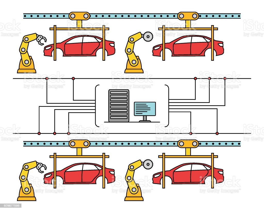 hight resolution of thin line style car assembly conveyor line royalty free thin line style car assembly