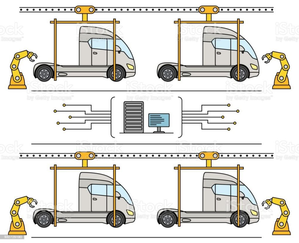 medium resolution of thin line style truck assembly line automatic transport production conveyor illustration