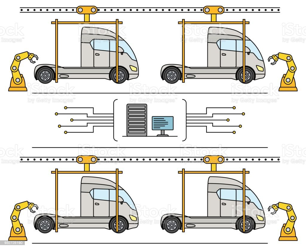 hight resolution of thin line style truck assembly line automatic transport production conveyor illustration
