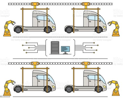 small resolution of thin line style truck assembly line automatic transport production conveyor illustration