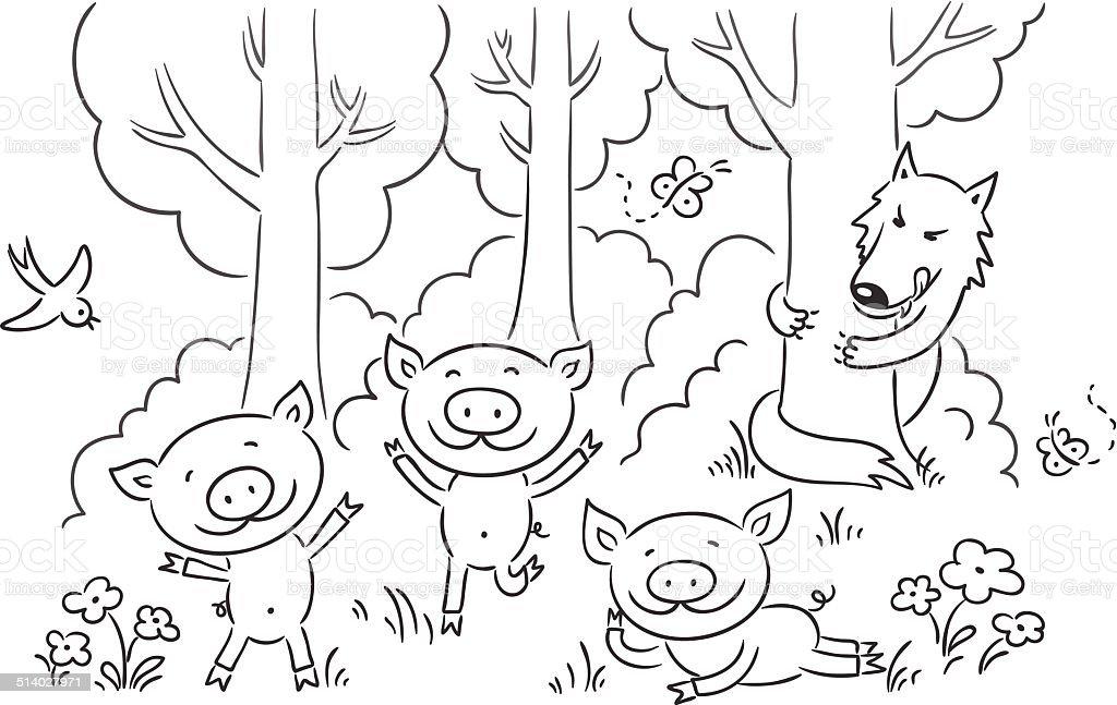 Ilustração de Os Três Porquinhos Conto De Fadas e mais