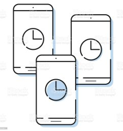 three smartphone icons with clock in simple line style outline cell phone vector royalty [ 1024 x 1024 Pixel ]