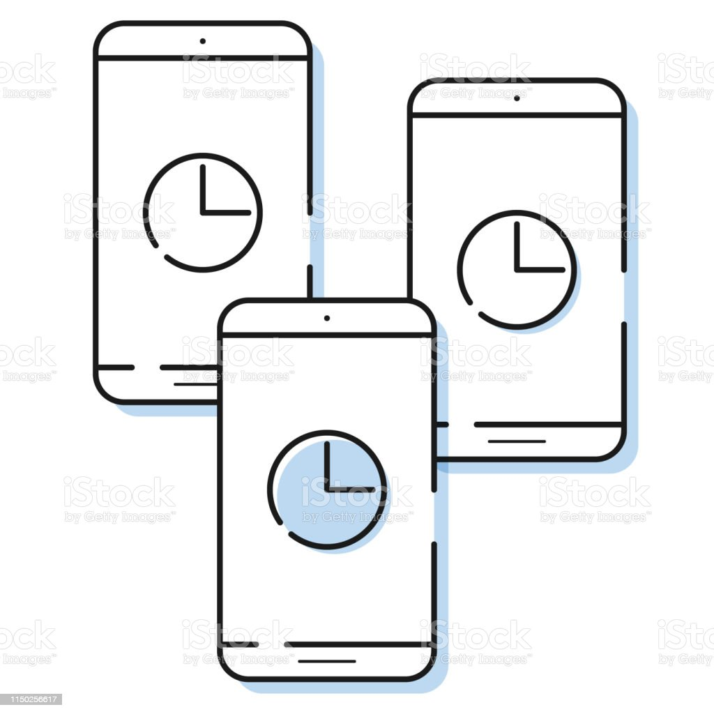 hight resolution of three smartphone icons with clock in simple line style outline cell phone vector royalty