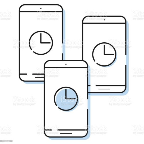 small resolution of three smartphone icons with clock in simple line style outline cell phone vector royalty