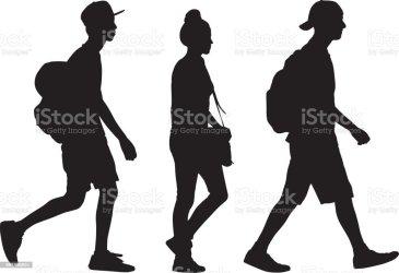 teens vector silhouette walking three clip student clipart illustrations promenad grafiken rucksack istockphoto baseball cap maschi bambini adolescente drawing town