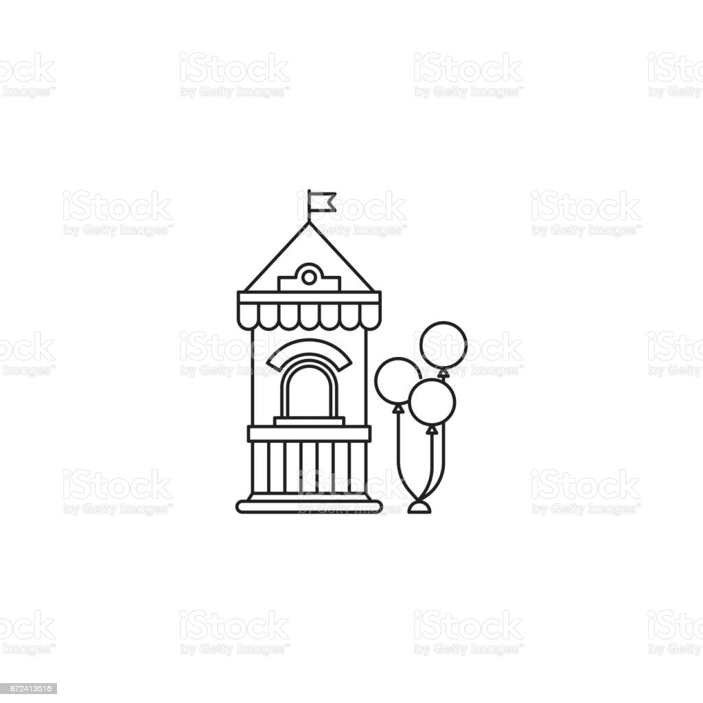 Ticket Booth With Balloons Icon Vector Linear Design