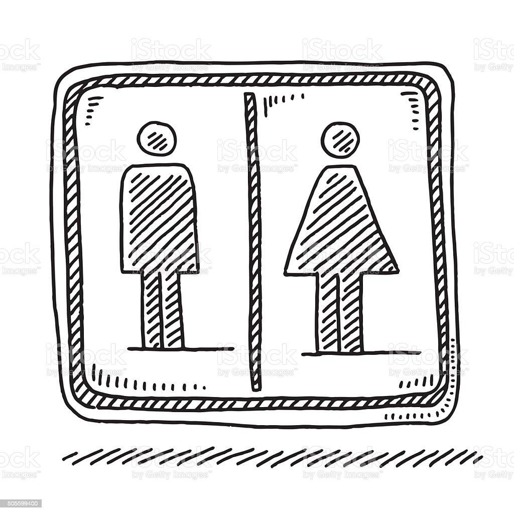 Toilet Sign Men Women Symbol Drawing Stock Vector Art
