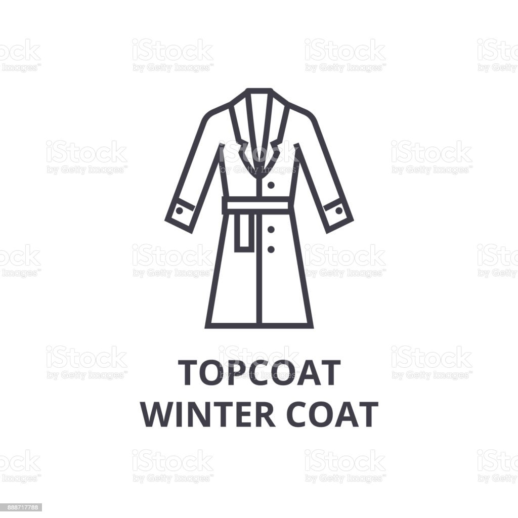 Topcoat Winter Coat Line Icon Outline Sign Linear Symbol