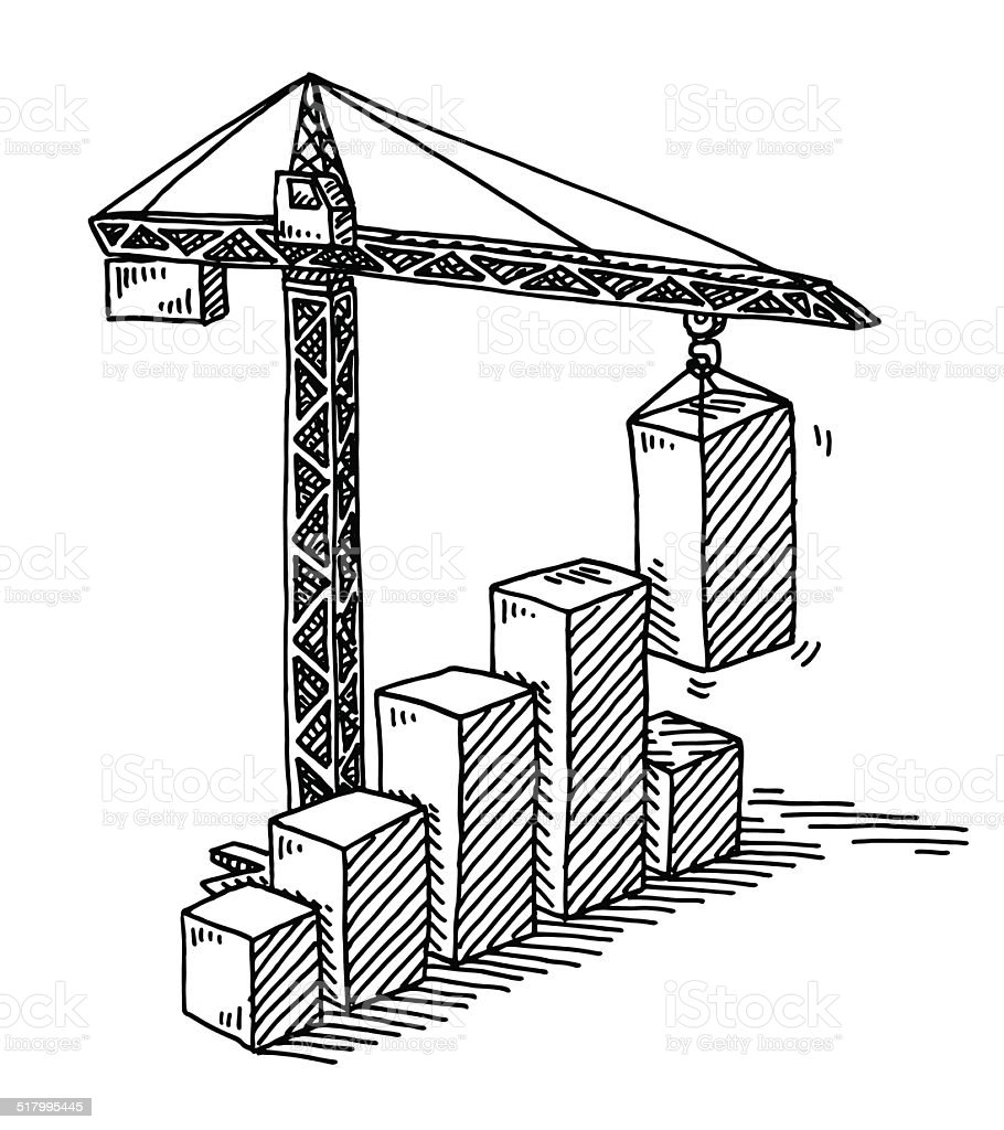 Torre Do Guindaste De Construção Bar Desenho Gráfico De