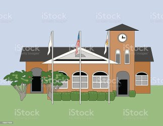 Town Hall Building With Clock on The Tower Clipart Images