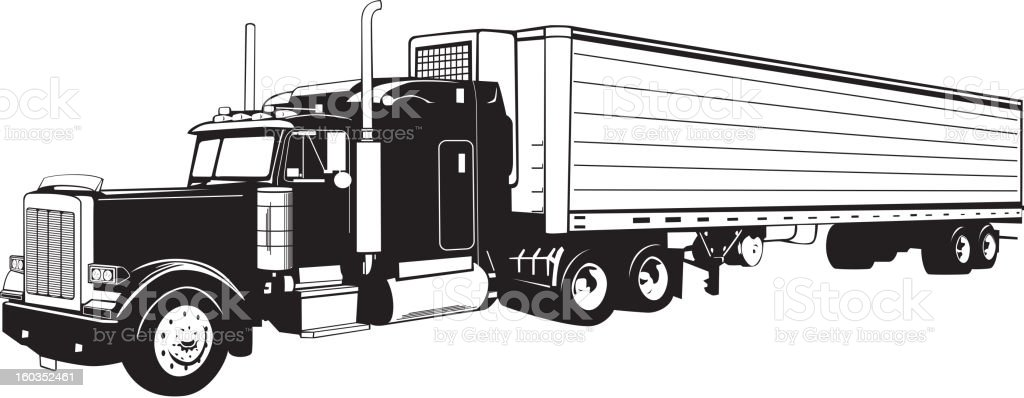 Tractor Trailer Truck Black And White Stock Illustration