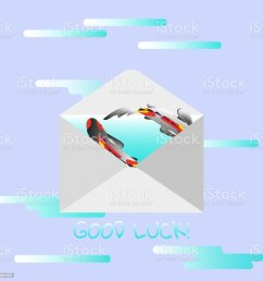 traditional mail envelope with a wish text good luck illustration with koi fish on [ 1024 x 1024 Pixel ]