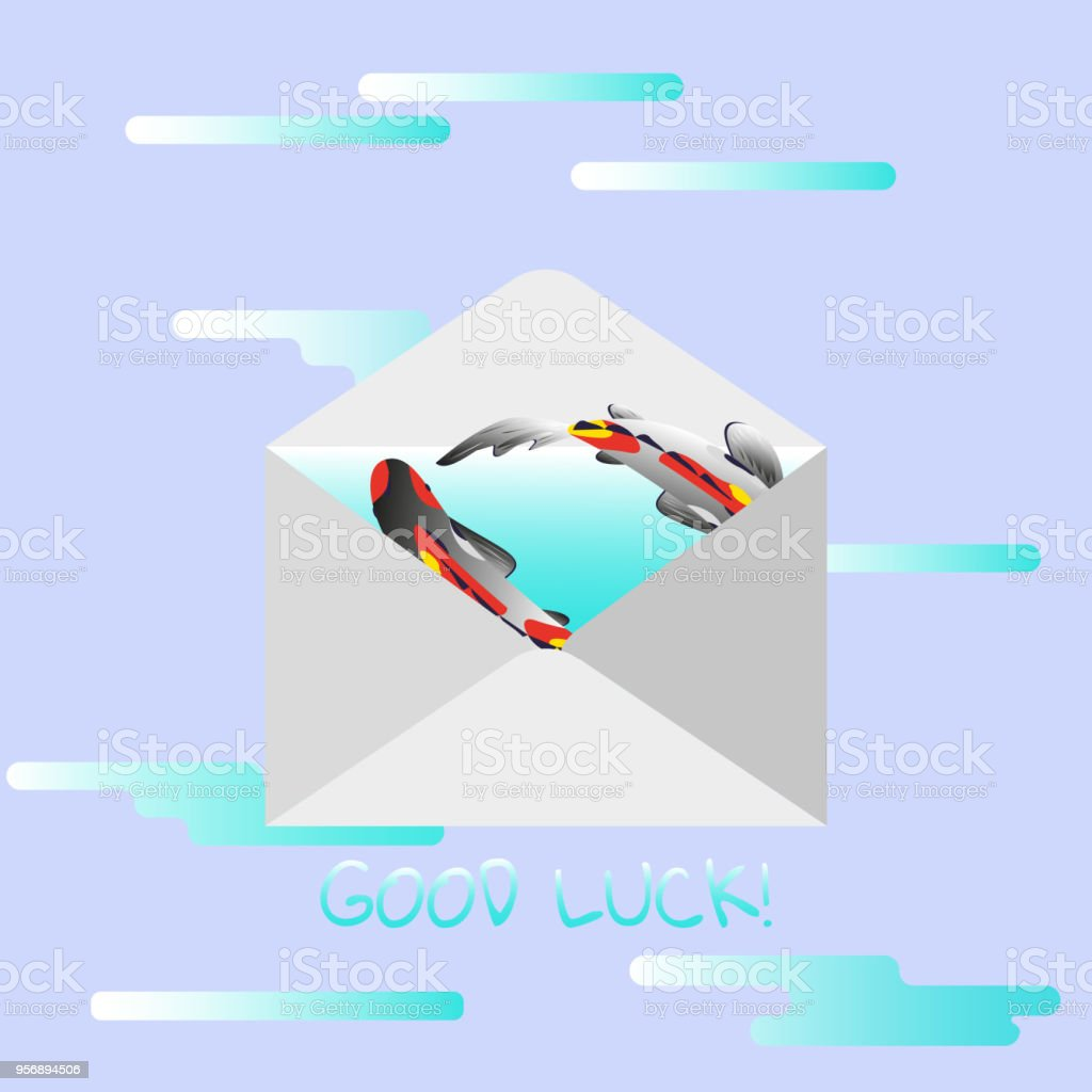 hight resolution of traditional mail envelope with a wish text good luck illustration with koi fish on