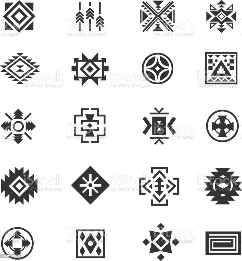 Ilustración De Símbolos Mexicanos Tribales Tradicionales Cultura