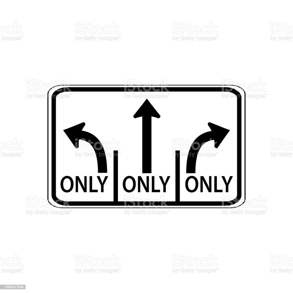 Usa Traffic Road Signs Left Lane Must Turn Leftcenter Lane