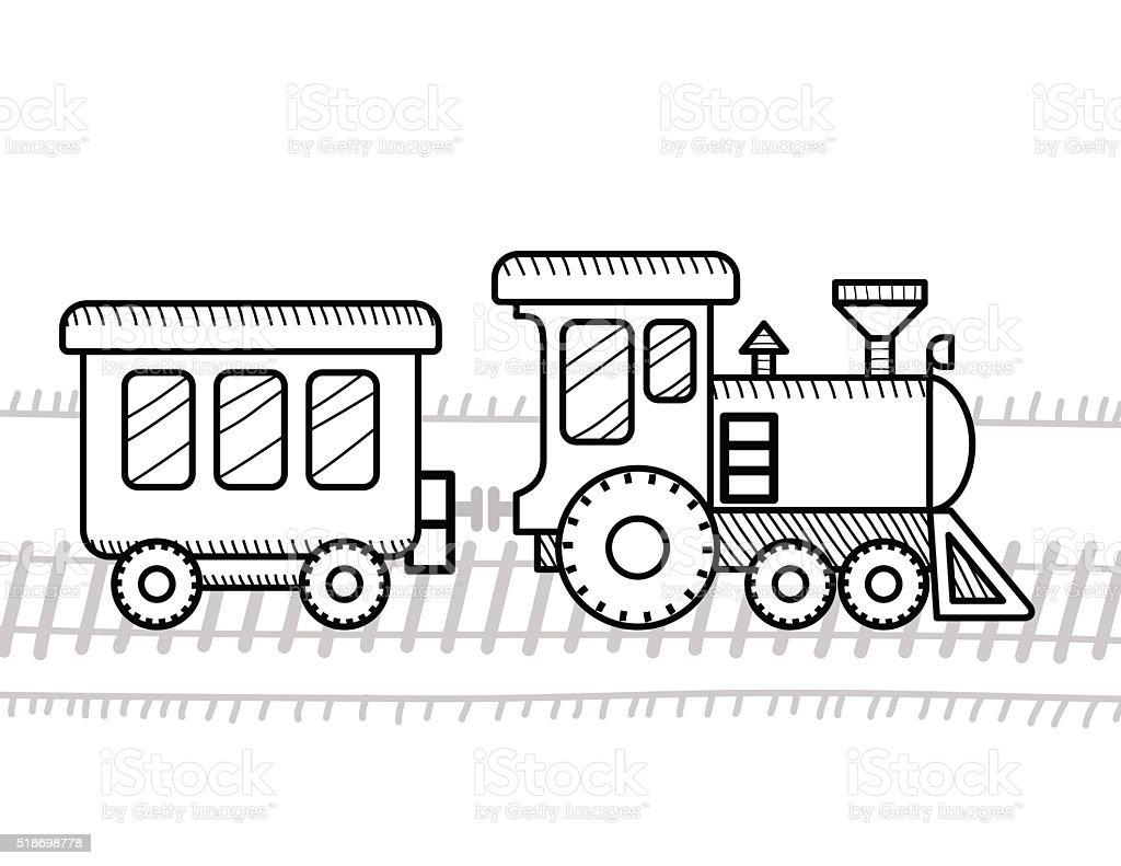 기차 색칠놀이 Book For 아이들 검정에 대한 스톡 벡터 아트 및 기타 이미지 518698778