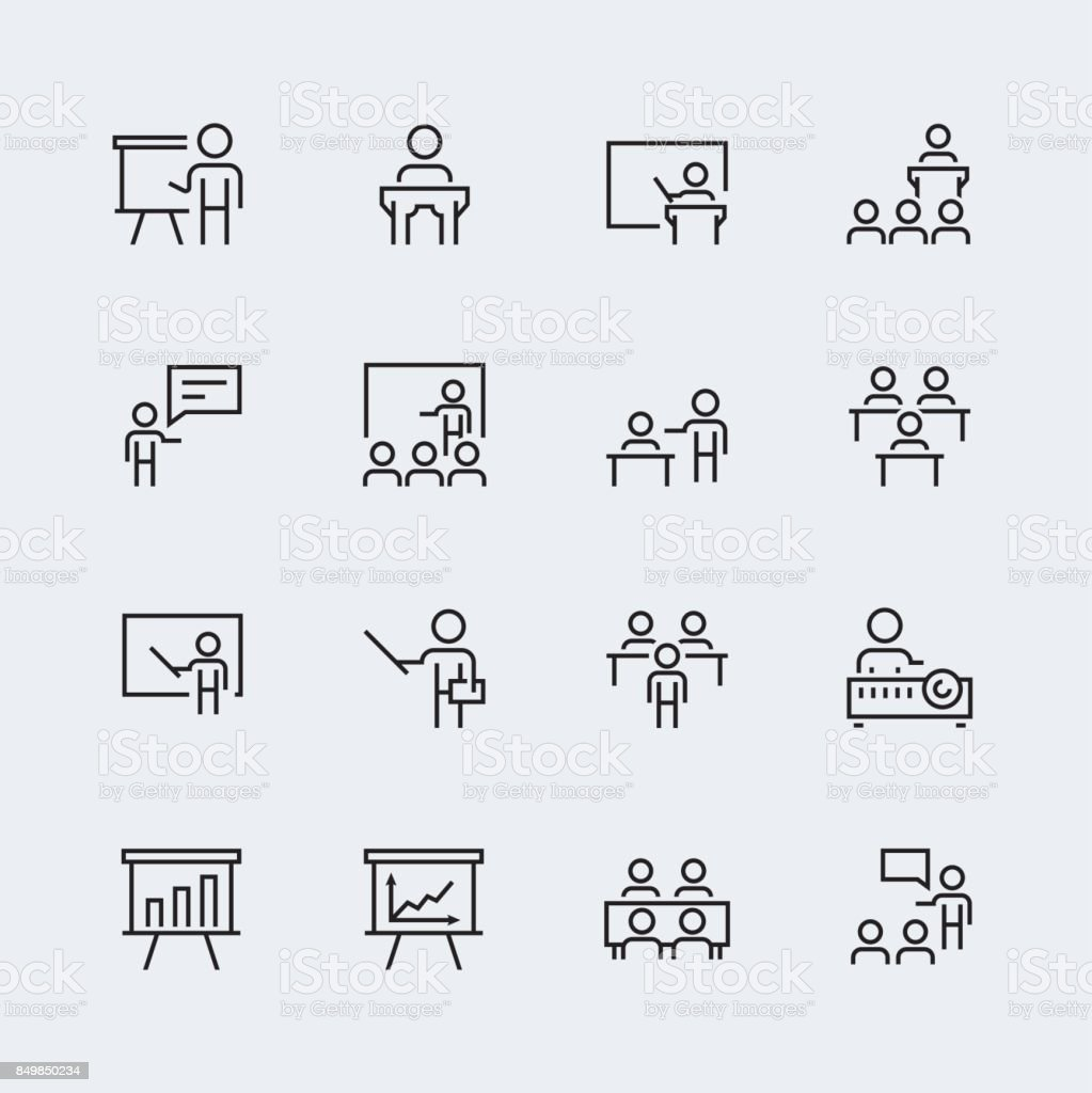 Training Presentation Icon Set In Thin Line Style Stock
