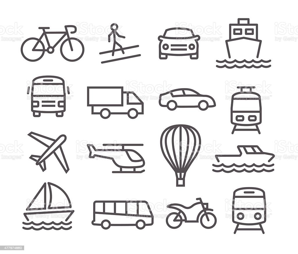Transport Icons Stock Vector Art & More Images of 2015