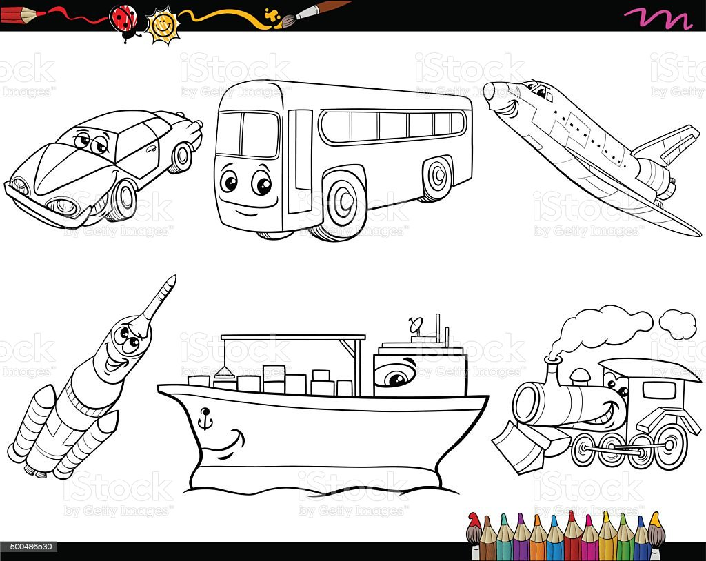 Transport Vehicles Coloring Page Stock Vector Art & More