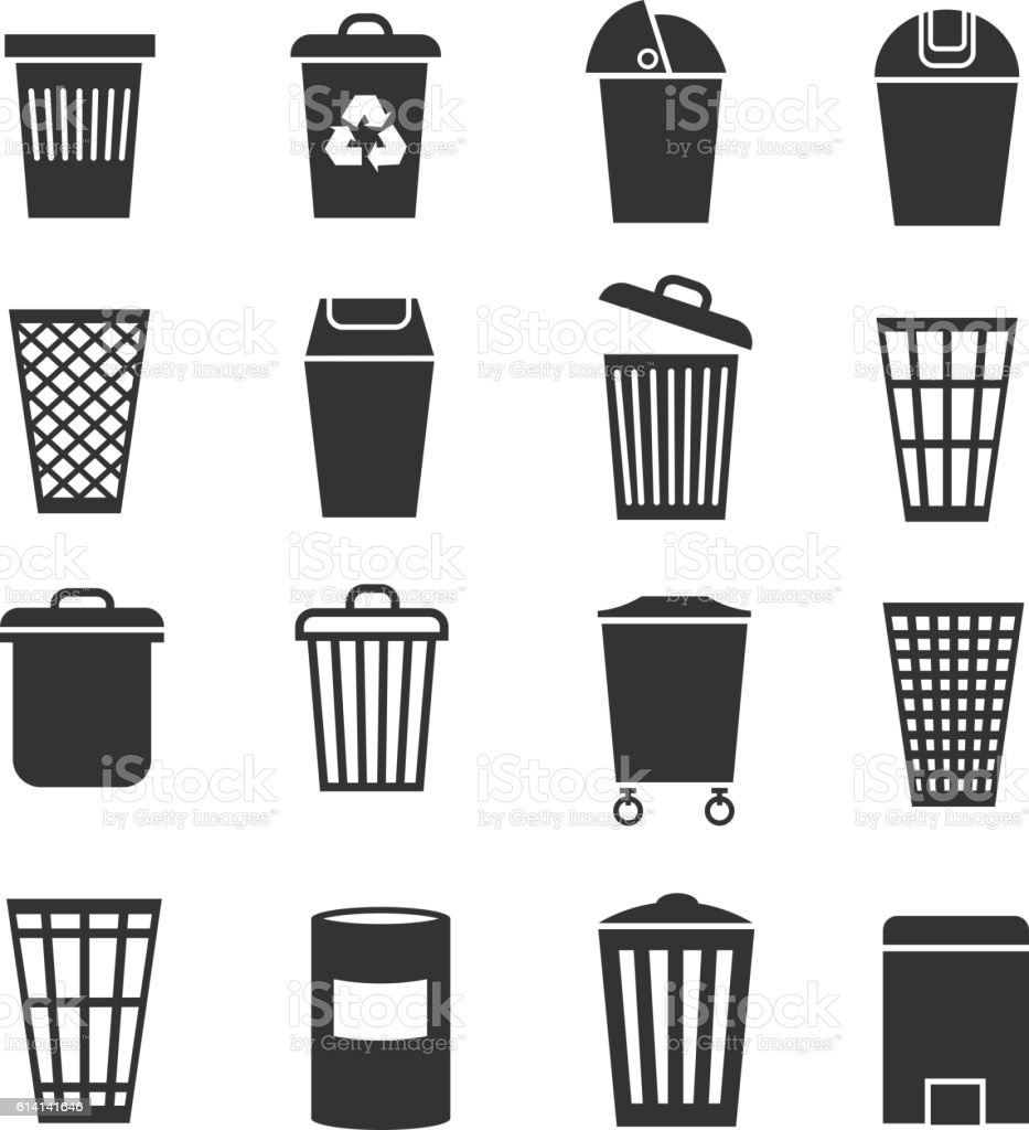 Trash Can Waste Basket And Bin Garbage Vector Icons Stock
