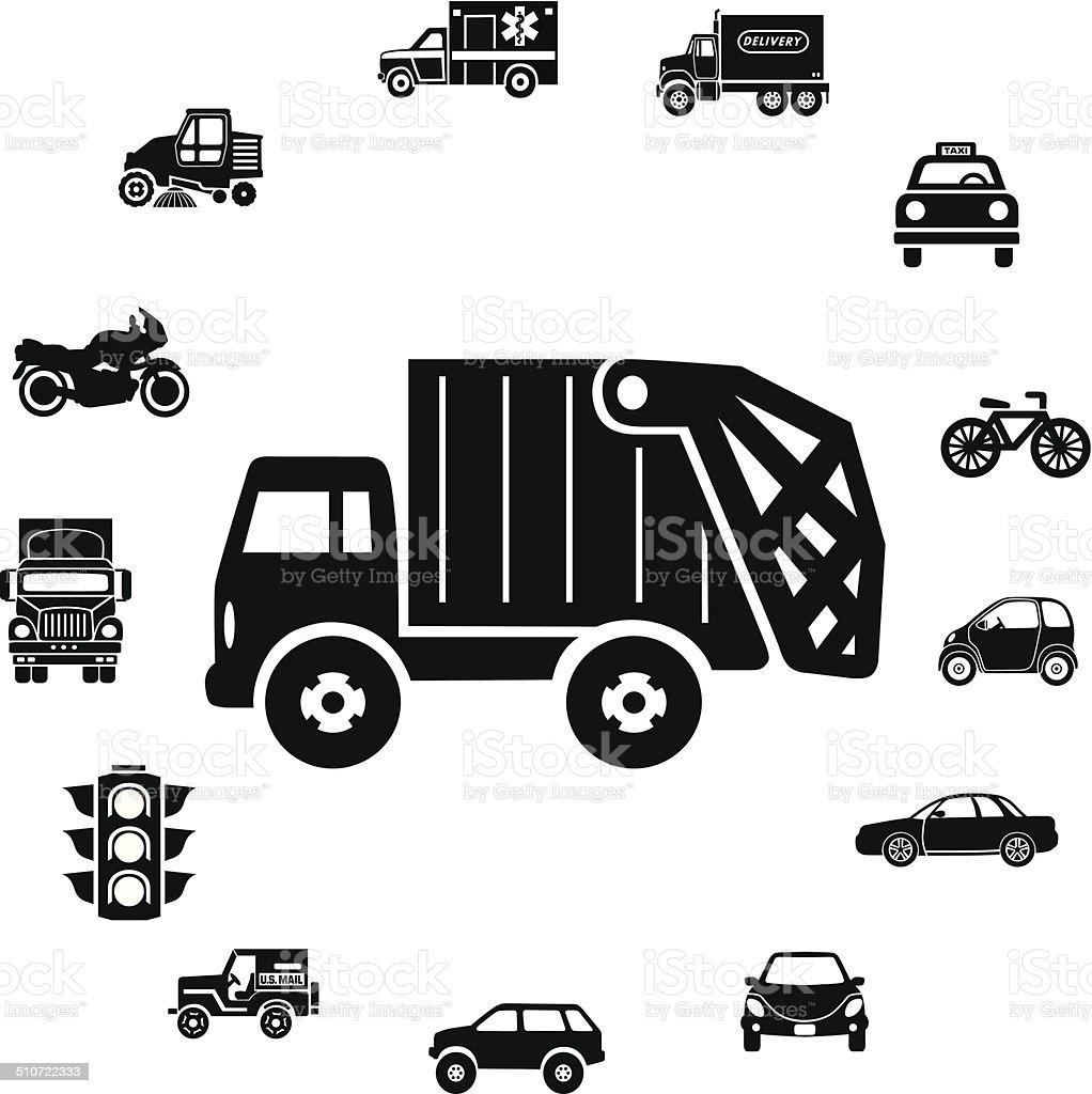 Trash Truck And Transportation Icon Ring Border Stock