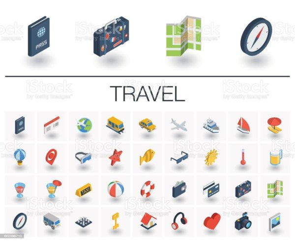 Travel And Tourism Isometric Icons 3d Vector Stock Vector