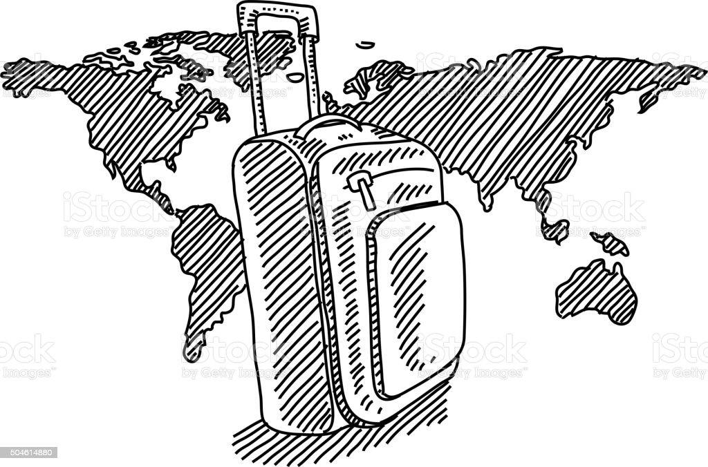 Sac De Voyage Avec La Carte Du Monde De Dessin