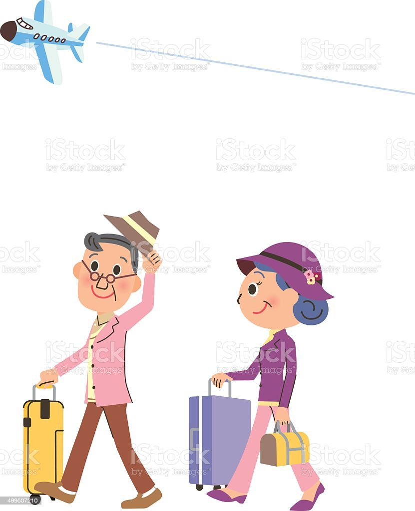 elderly couple vacation trip