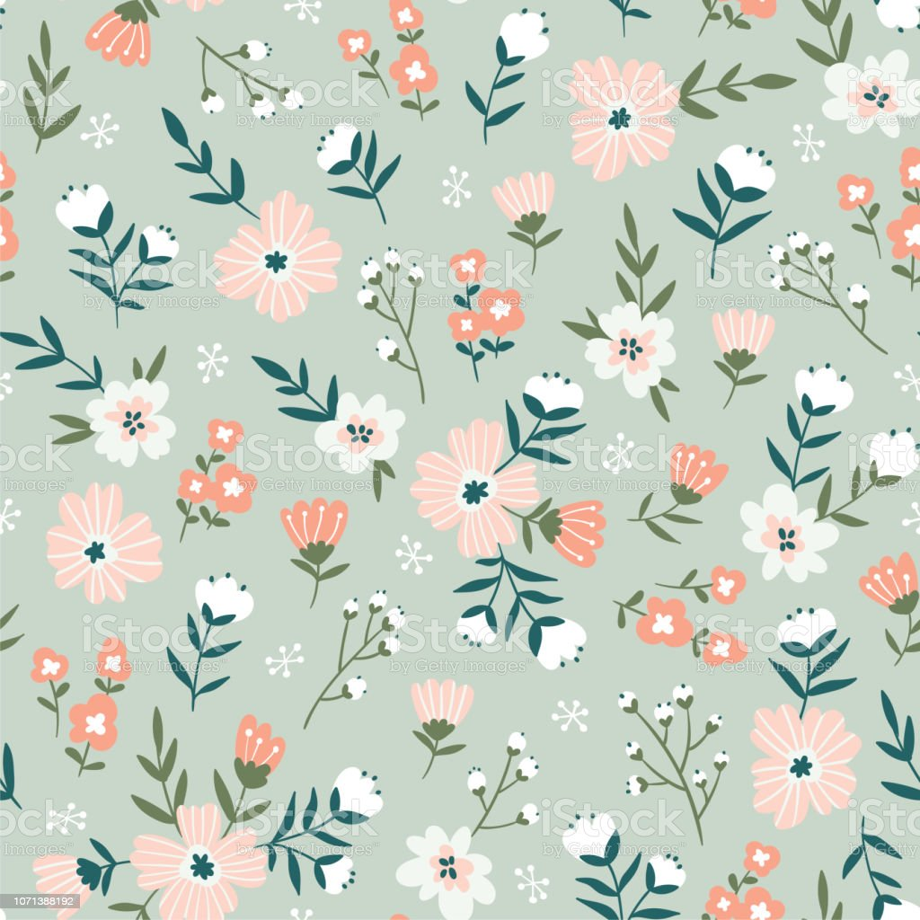 Trendy Seamless Floral Pattern Fabric Design With Simple Flowers Vector Cute Repeated Ditsy Pattern For Fabric Wallpaper Or Wrap Paper Stock ...