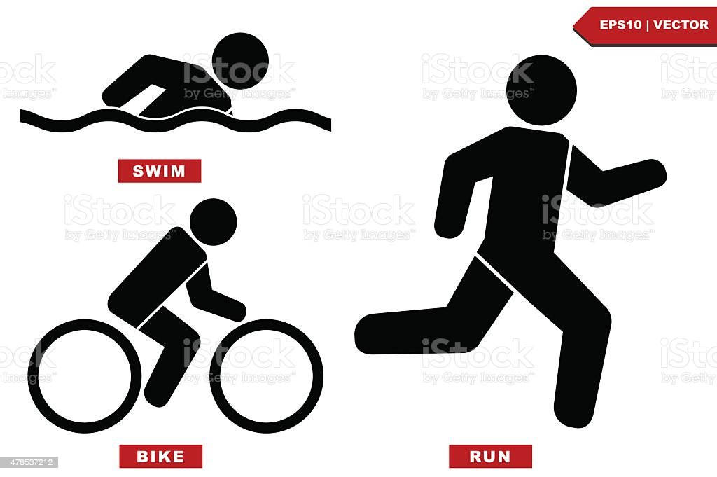 Triathlon Marathon Active Icons Swimming Running And