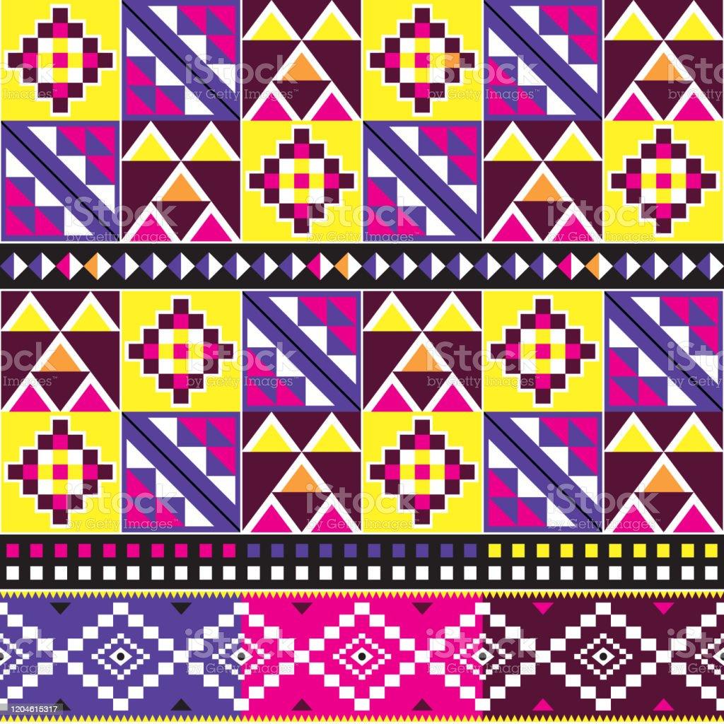 tribal kente modele vectoriel de style tissu design africain sans couture avec des formes geometriques inspirees