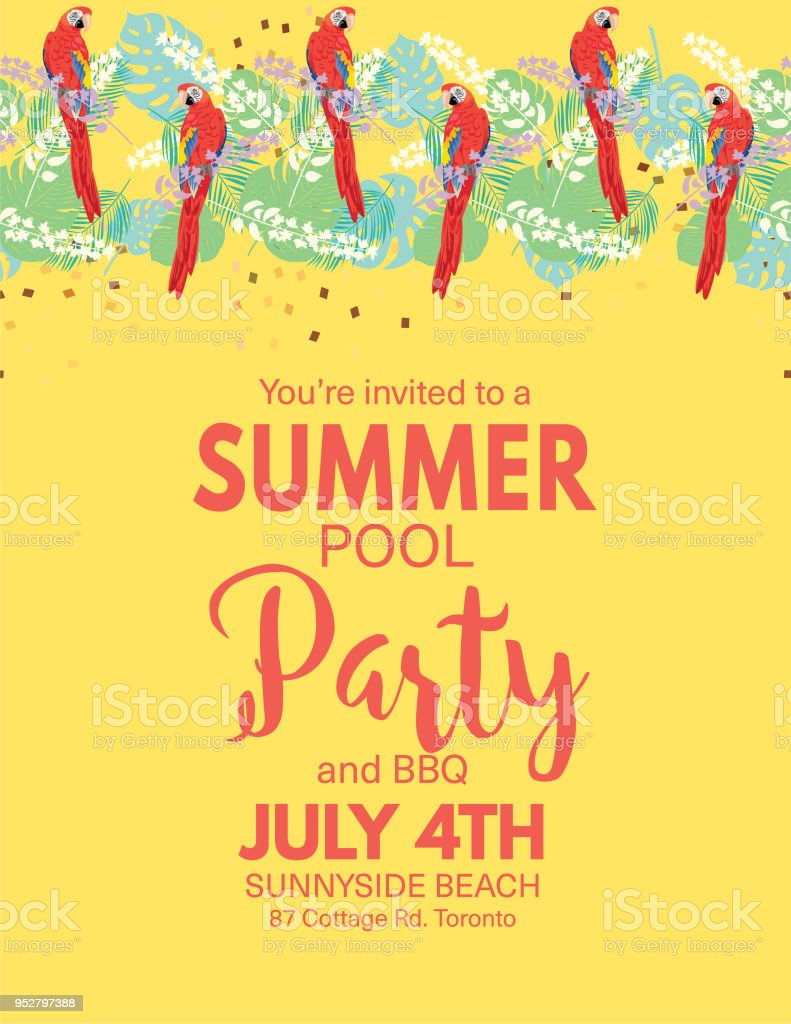 Tropical Background Pool Party Invitation Royalty-Free Tropical Background Pool  Party Invitation Stock Vector Art