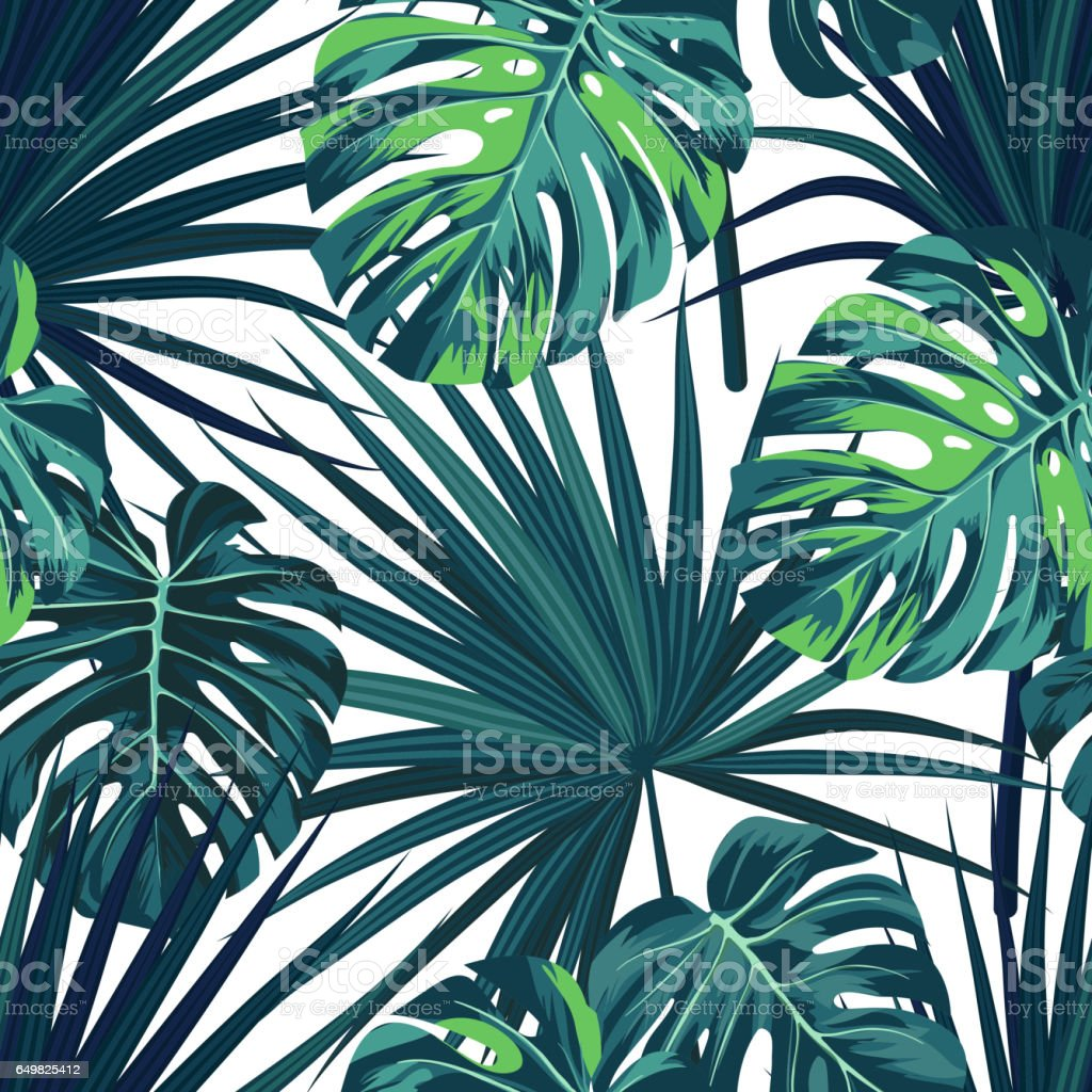 Tropical Background With Jungle Plants Seamless Vector