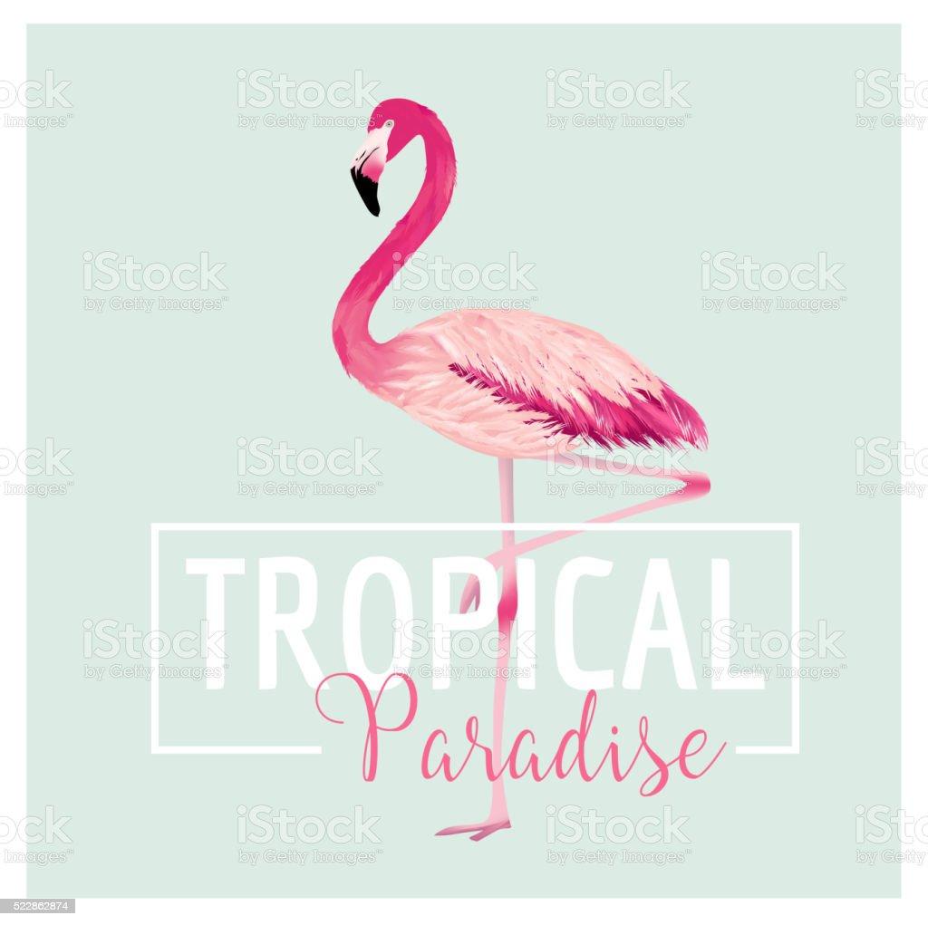Tropical Bird Flamingo Background Summer Tshirt Design