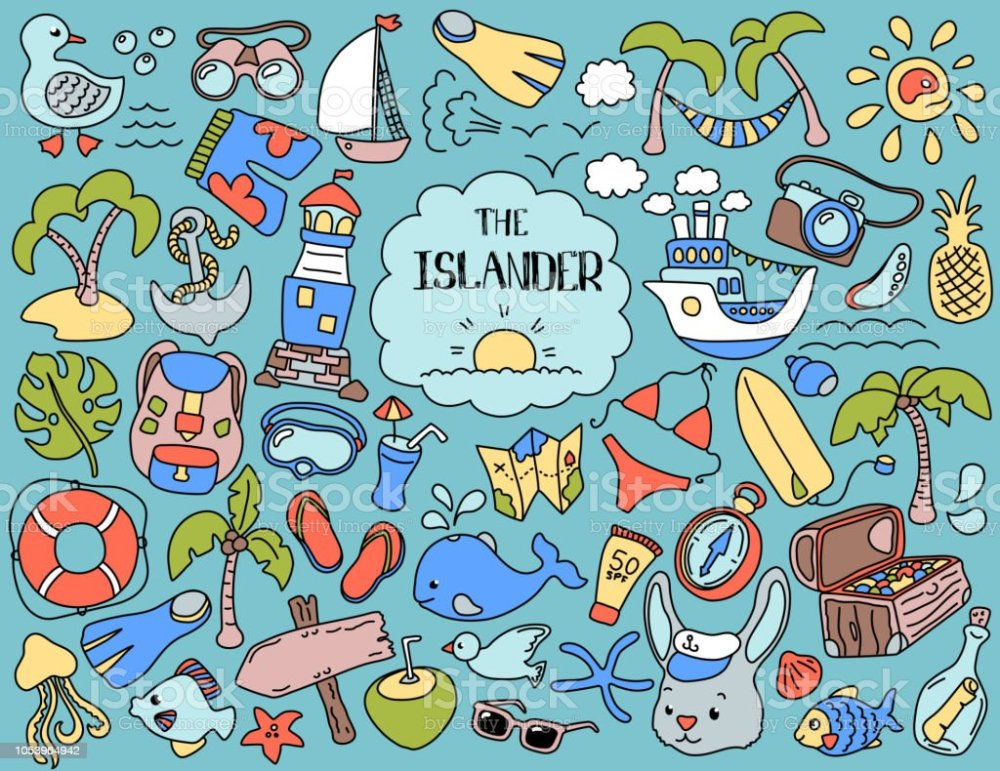 medium resolution of tropical island summer vacation colorful clipart vintage vector illustrations nautical logo set summer